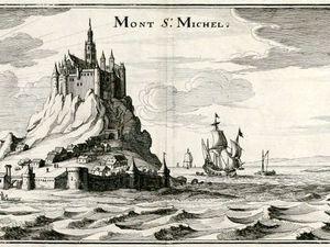 Le Mont-Saint-Michel-gravure-Taylor-1884-Geo.delaManche + Le MSM, gravure M.Merion-1667-wikimanche