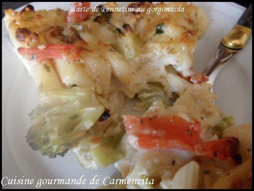 Tarte de Pennetini au gorgonzola chou fleur et brocoli