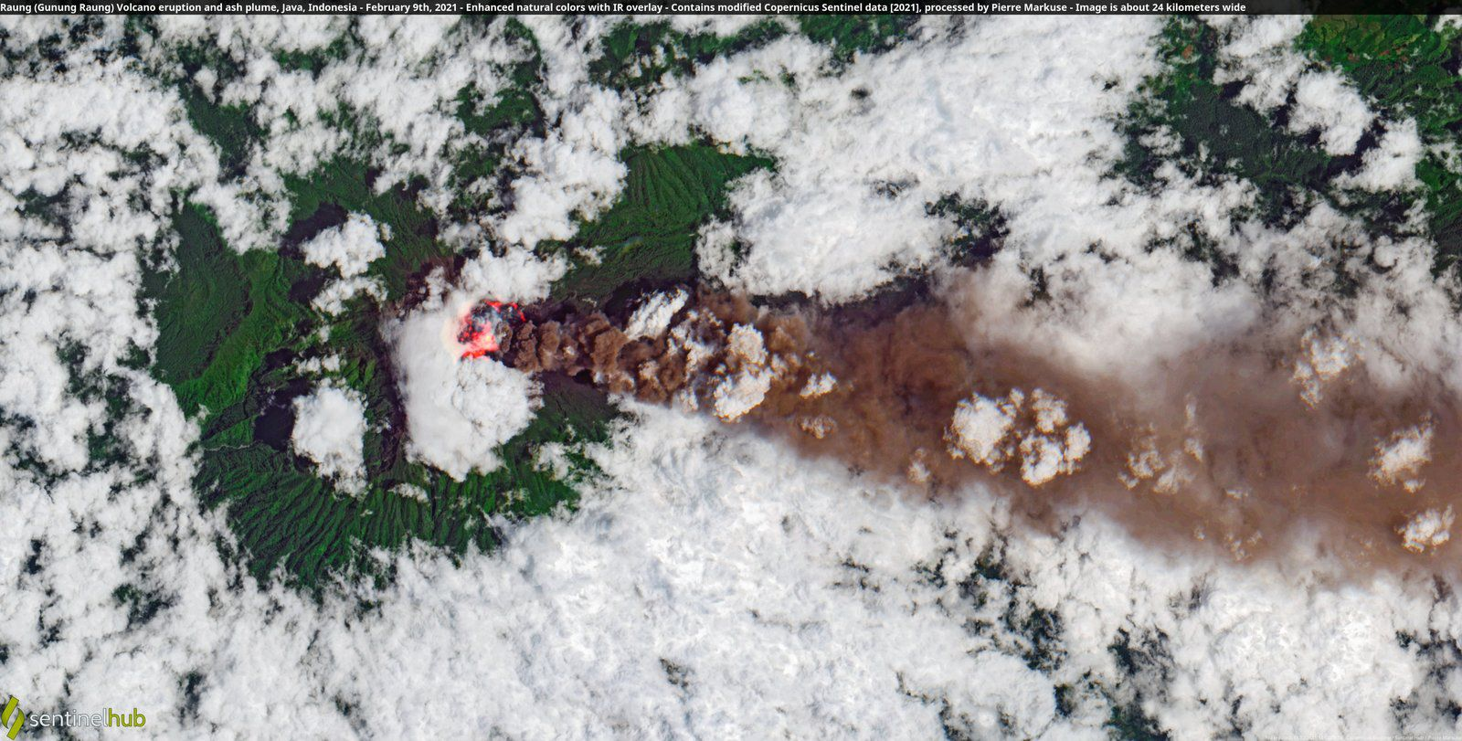 Raung - hot spots in the crater and ash plume from 02.09.2021 - image Sentinel2 / enhanced nat. colors + IR overlay / by Pierre Markuse - one click to enlarge