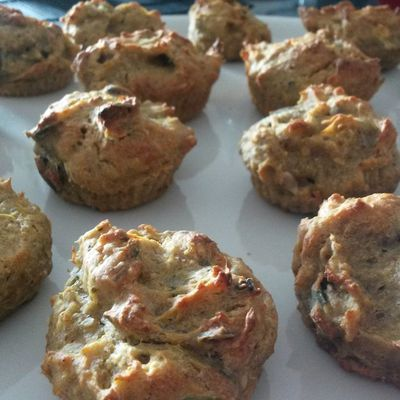 Vegan zucchini and pumpkin seeds muffins