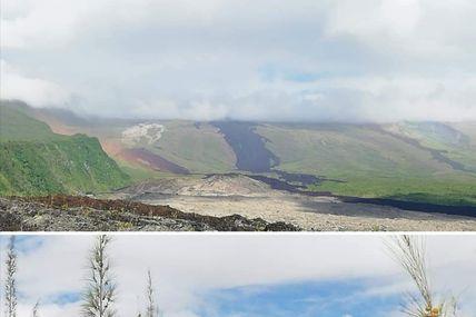 L'équipe de l'Observatoire Volcanologique du Piton de la Fournaise dans le grand brûlé ce matin