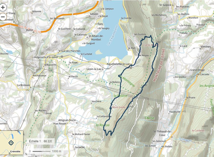 Altitude min.  : 407 m - maxi : 1431 m - Dénivelé  + 1085 m - 1071 m - Distance : 17 km