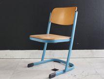 Chaise d'école VS piètement métal bleu Années 70 - Vintage