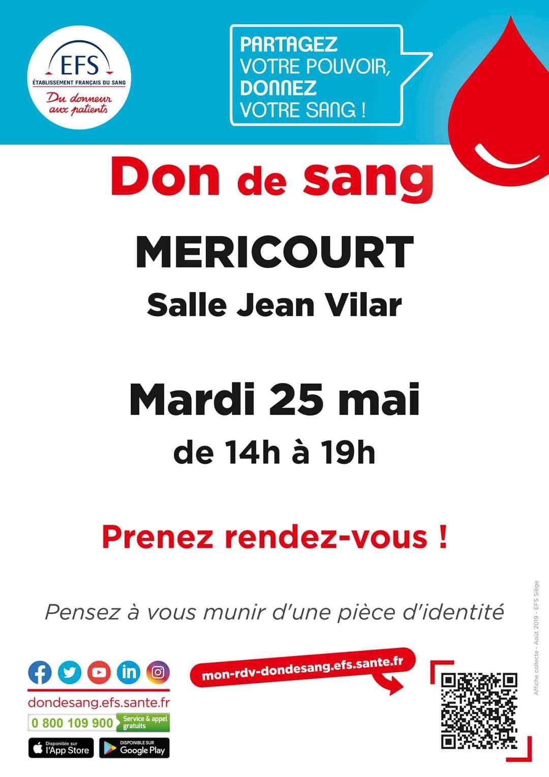 Un don du sang à Méricourt le 25 mai