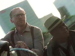 Sauve qui peut ! Simon Pegg s'est fait très discret ce jour là, pas moyen de l'avoir dans le viseur, Ving Rhames en revanche, a assuré.