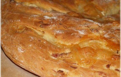 Fougasse Chèvre, Pignons de Pin et Lardons ... dans ma machine à pain