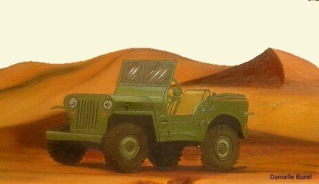 Superbe jeep perdue dans le désert, réalisée à l'huile par Danielle. Bravo !!   Et Céline a peint à l'huile ce Mihrab (niche de Mosquée) Un vrai jeu de patiente ! Encore bravo !!