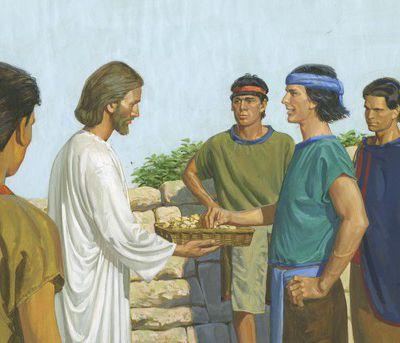 Jesus gebot seinen Jüngern, ihm etwas Brot und Wein herzubringen