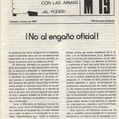 Colombia, octubre de 1980, edición para el exterior   ¡NO AL ENGAÑO OFICIAL!