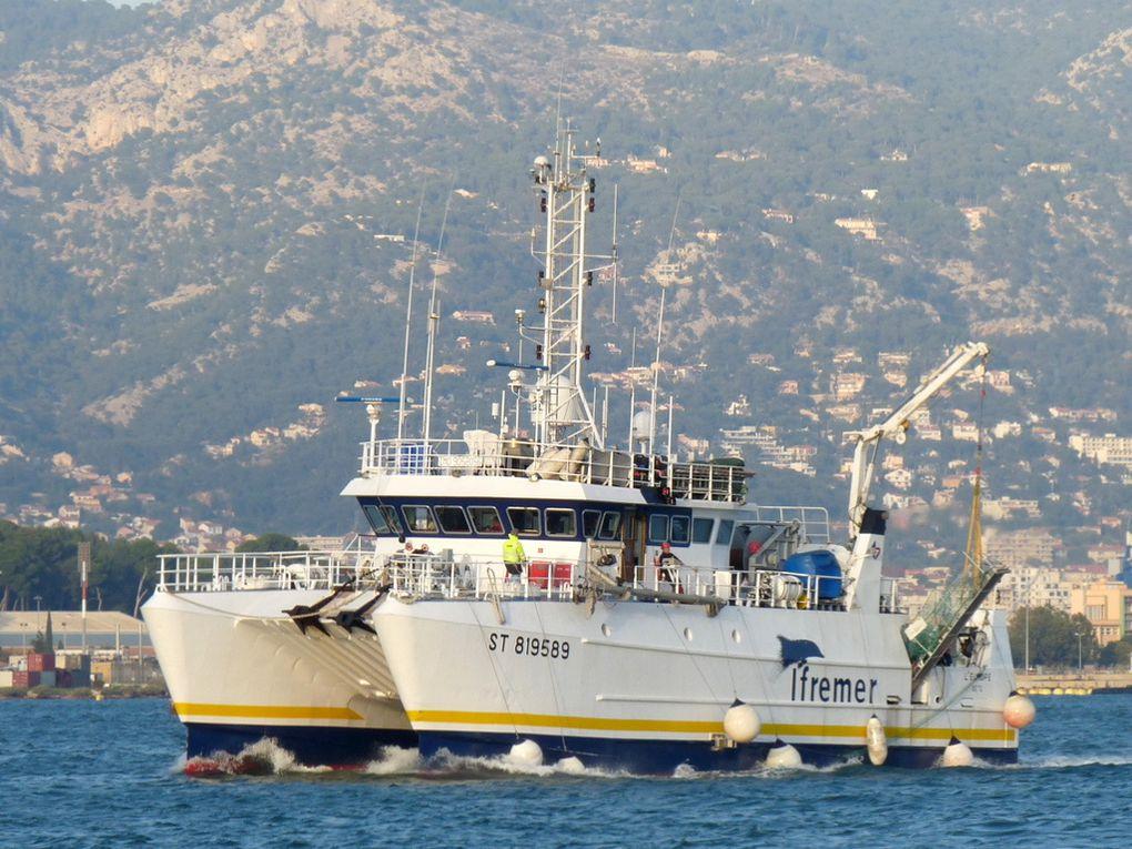 L'EUROPE , navire de recherches de L'Ifremer arrivant à la Seyne sur Mer le 02 novembre 2016