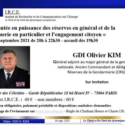 Diner 16 septembre - GDI KIM - «La montée en puissance des réserves en général et de la gendarmerie en particulieret l'engagement citoyen»
