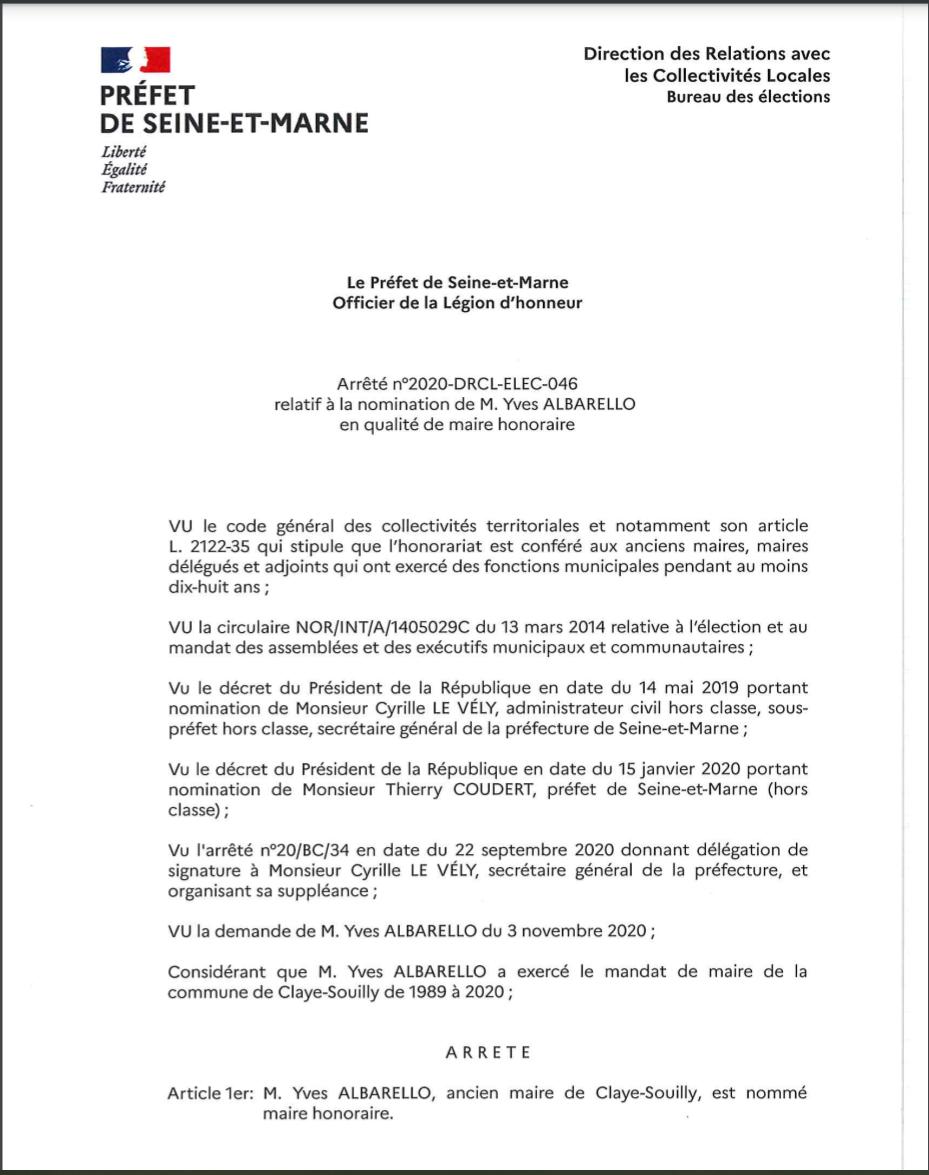 Claye-Souilly: sur sa demande, Yves ALBARELLO vient d'être nommé par le préfet Maire Honoraire