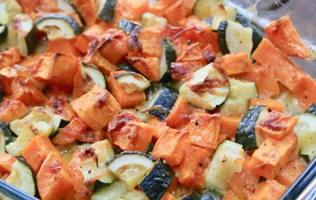 Gratin de patates douces, courgettes, Conté et crème fraîche