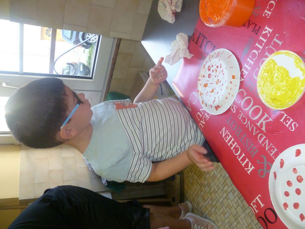 Peinture au doigt  sur une assiette en carton....pour fabriquer une montgolfière....bientôt dans le vestiaire...