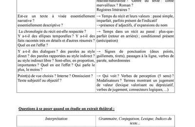 Qu'analyser dans chaque texte selon le genre auquel il appartient ?