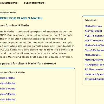 CBSE Sample Papers for Class 9 Maths | Entrancei
