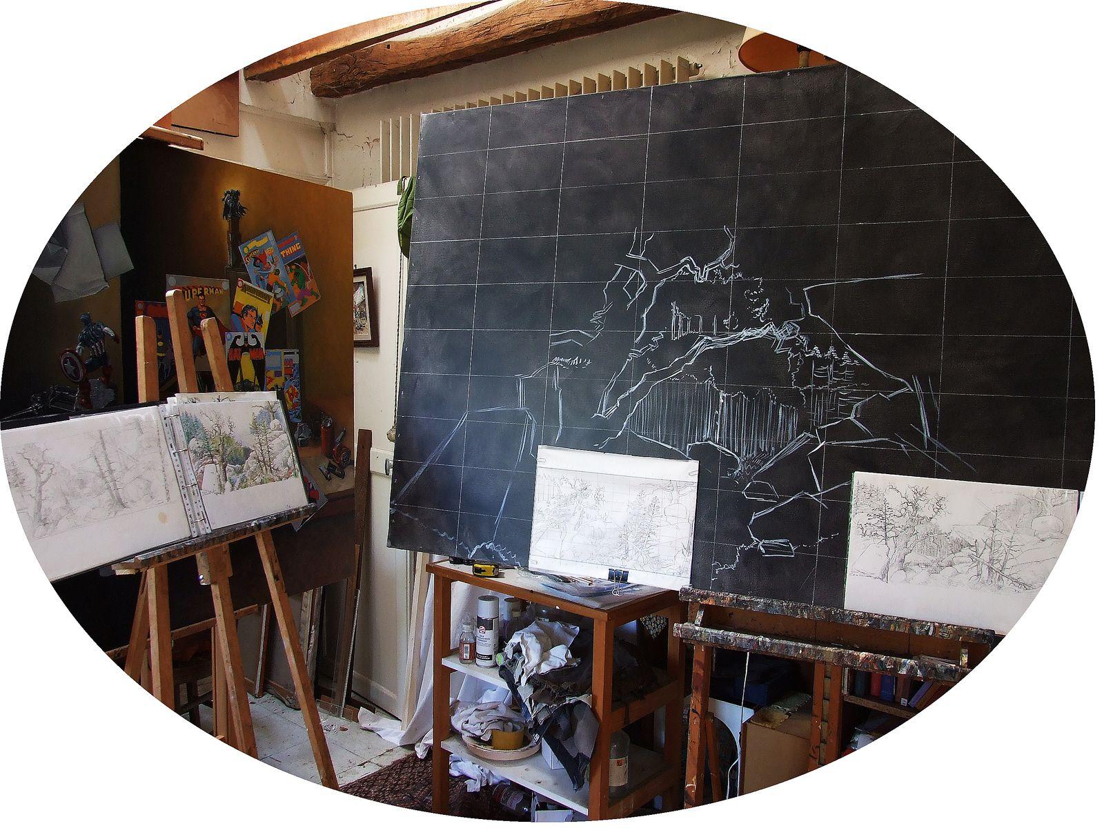 """Le tableau """"la forêt de Fontainebleau"""" en cours à l'atelier. L'utilisation des études."""