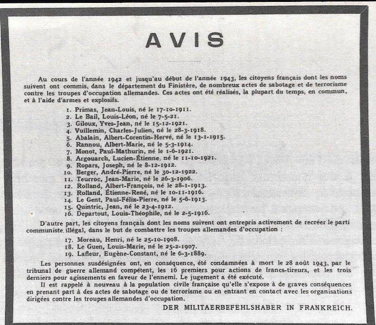 Avis d'exécution des 19 résistants communistes ou FTP finistériens le 17 septembre 1943, fusillés au Mont Valérien