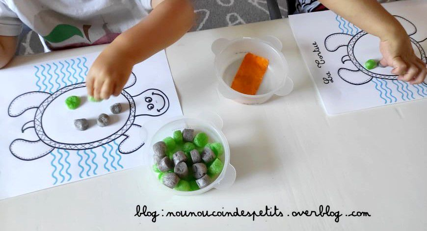 .. Bricolage enfant les tortues Playmais ..