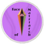 Face Of Matriarch Text Round Beach Towel for Sale by Michael Bellon