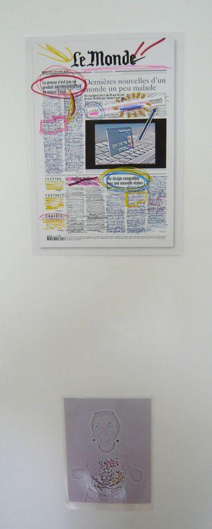"""éléments pour une installation, techniques mixtes, """"refaire le monde"""" : la UNE du journal se transforme en """"bonnes nouvelles""""!!"""