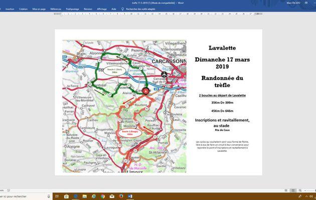Dimanche 17 mars : Randonnée du Trèfle à LAVALETTE