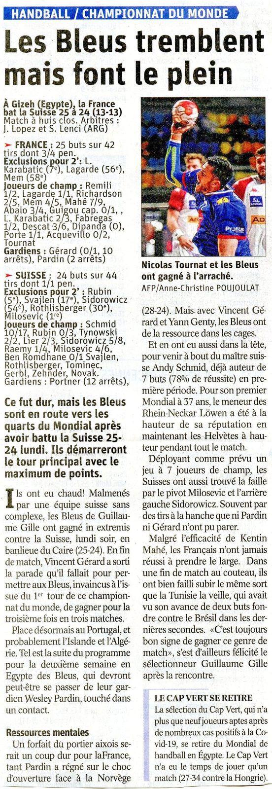 Mondial Handball  FRANCE - SUISSE après match article du DL 19 janvier  2021
