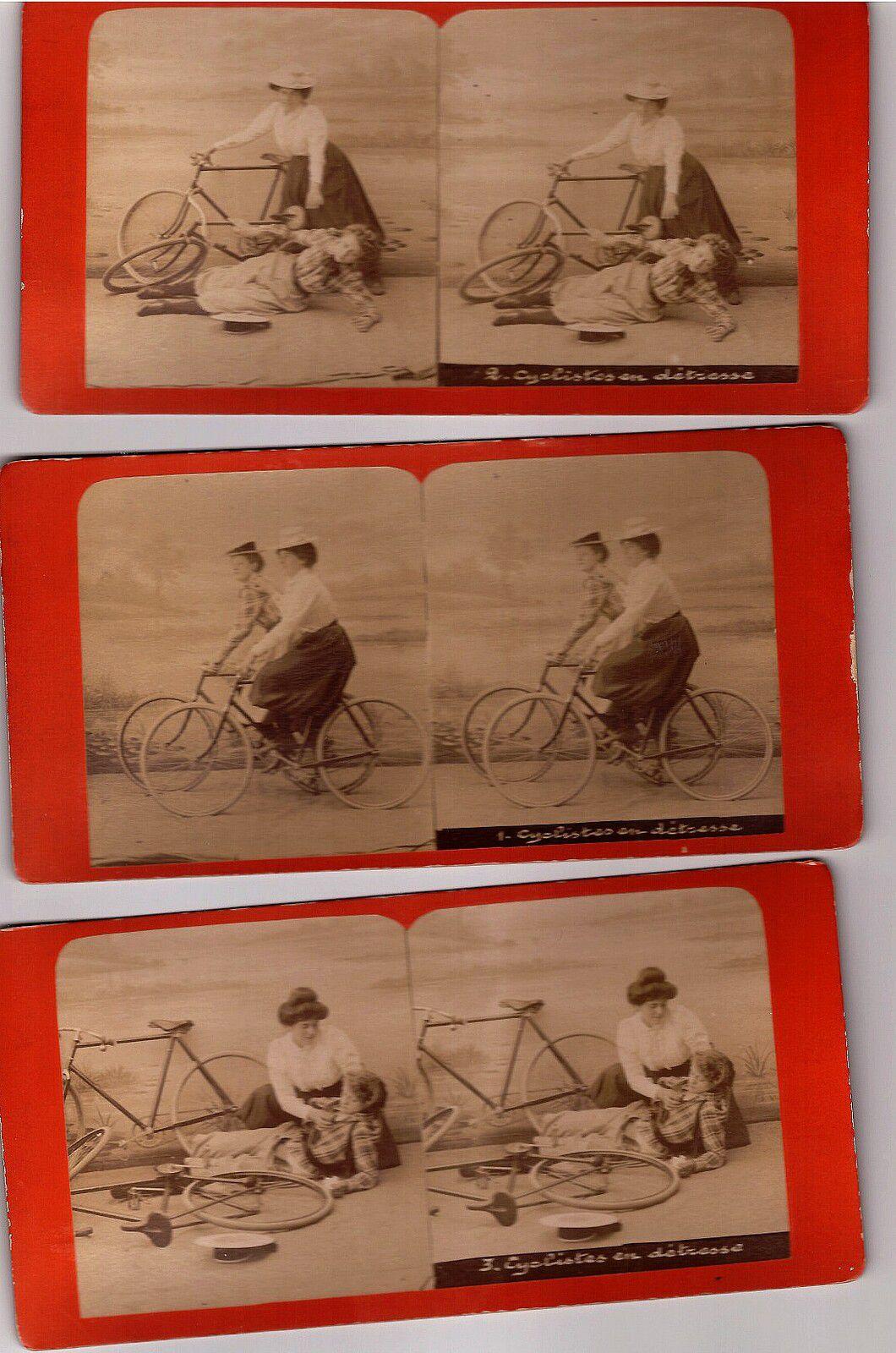 Série complète de 6 Vues stéréo thème vélo.