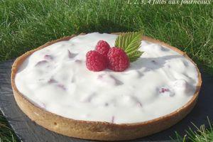 Tarte au yaourt et aux framboises (un vrai délice !!!)