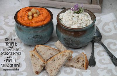 Duo de tartinades : houmous de poivron rouge, crème de saumon fumé