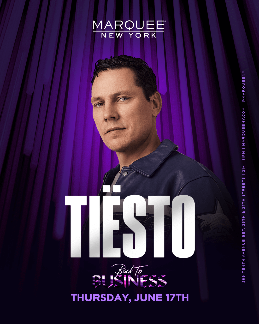 Tiësto date  Marquee  New York, NY - june 17, 2021