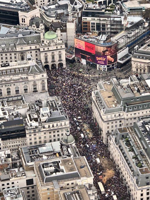 Another Aerial Shot, Piccadilly Circus Is CRAMMED! #londonprotest Freedom March London