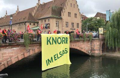 A quelques jours de la fermeture, les salariés de l'usine Knorr manifestent à Strasbourg