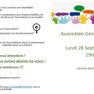 Assemblée Générale APEL - LUNDI 28 SEPTEMBRE 2020