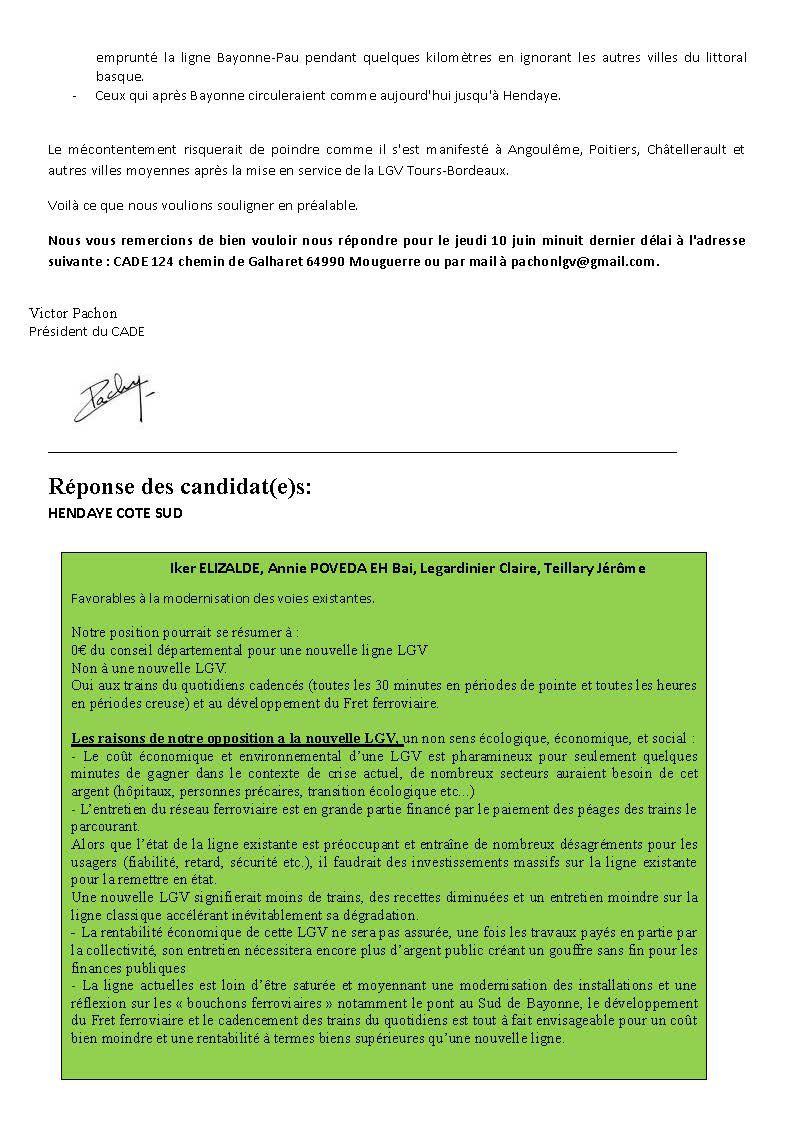 LGV : Réponses des candidats(e)s aux élections départementales de 2021
