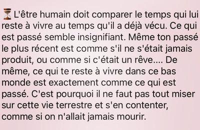 L'être humain doit comparer le temps qui lui reste à vivre au .