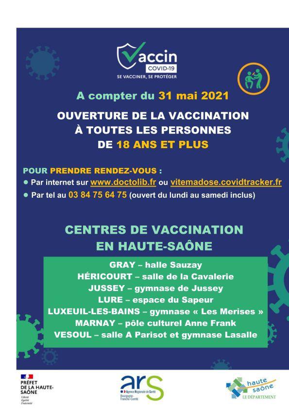VACCINATION COVID-19 - Vaccination ouverte à tous - RDV disponibles cette semaine