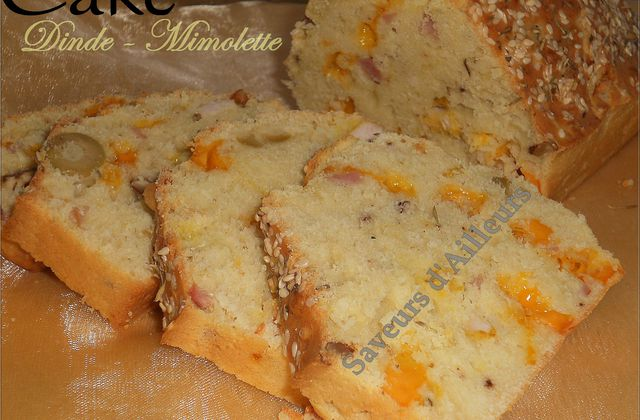 Cake dinde mimolette parfumé à la noix et huile d'Olive