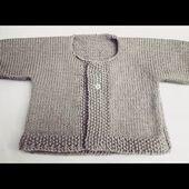 Gilet enfant 2 à 3 ans au tricot point jersey et point de riz