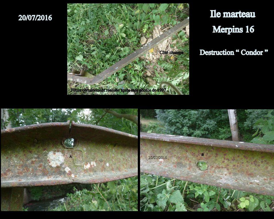 """Crash """" P 38 """" Lockeed US et destruction au sol d'un F.W Condor. Localisation précise et recherches nouvelles pièces, celles découvertes en 1999 ont été données au musée de l'air (B.A 709 Cognac) le 5 mai 1999 (Colonel J-P Quertinmont). Il y a eu beaucoup de difficultés à localiser la maison du principal vu en 1999, du fait d'une numérotation particulière. Celui-ci est décédé il y a 18 mois, nous avons pu  rencontrer un membre de sa famille, qui fut aussi un petit témoin. Malheureusement les cultures maïs ne nous on pas permis de pénétrer sur le site.... mais c'est partie remise.  Sur les photos on voit les tirs de l'avion américain qui avaient percé la balustrade du pont en fer."""