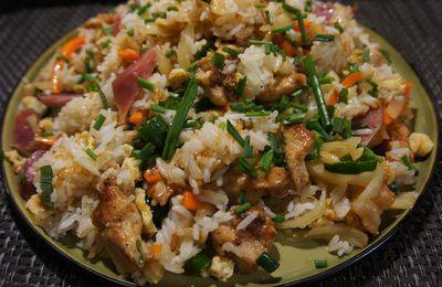 Riz cantonais aux saucisses chinoises