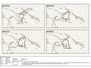 Ulawun - volcanic ash advisory for 03.08.2019, respectively at 11.20 and 14.21 - Doc. VAAC Darwin - a click to enlarge