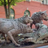 Sculptures of wolves mauling tourist appear in New York City parks