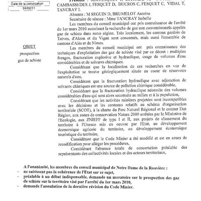 Notre Dame de la Rouvière : le conseil municipal demande un moratoire et l'annulation de la révision du code minier