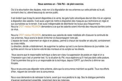 La CFDT Médias Réunion interpelle la direction de Réunion la 1ère !