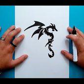 Como dibujar un dragon tribal paso a paso 2   How to draw a tribal dragon 2