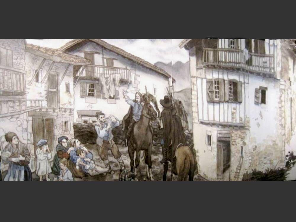 """Notre balade aujourd'hui   =  L'espace """"Chemins-Bidak """" à St Palais ,   au croisement des 3 voies principales vers St Jacques de Compostelle. Du jardin paysager en passant par le cloître et ses salles d'exposition, balade artistique à travers l'histoire de la Basse Navarre et du peuple basque. Bien amicalement Germaine"""