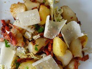 Salade tiède de topinambours au bacon
