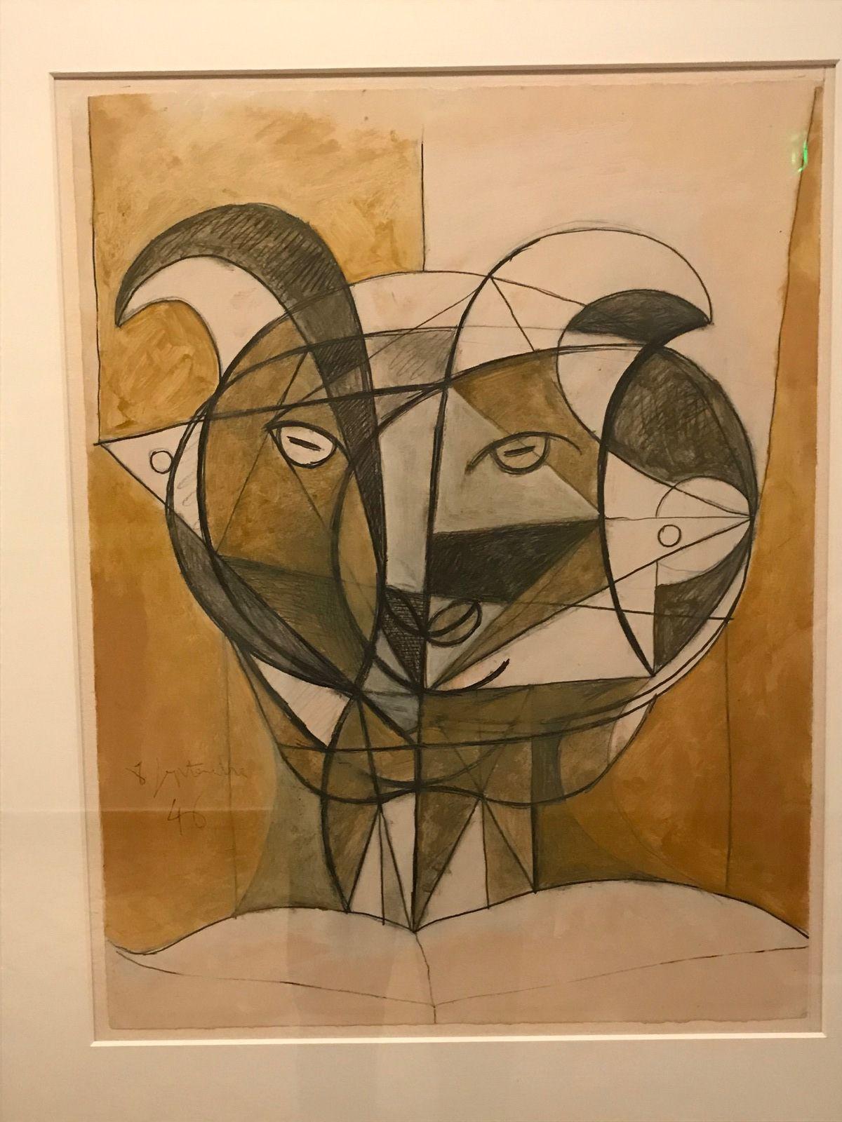 Tête de faune gris – (1946) – Huile et graphite sur vélin d'Arches