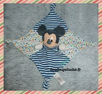 Doudou plat carré, souris Mickey, Disney Nicotoy, velours, rayures et triangles, doudoupeluche.fr